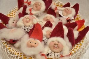 Små nisseansigter til juletræspynt